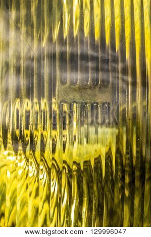 Yellow antifog headlight closeup in full frame