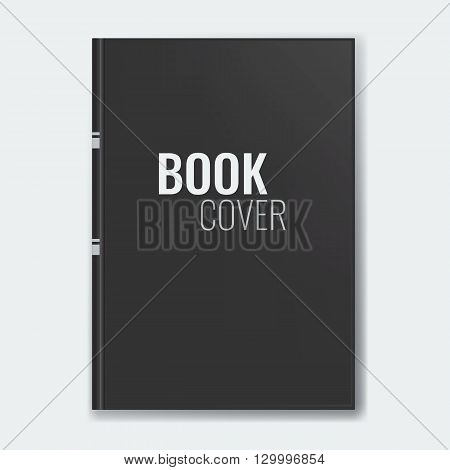 Mockup of blank black book cover. Realistic Textbook booklet notepad or notebook for your design and branding