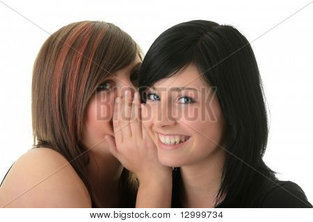 Two happy young girlfriends (sisters) talking over white