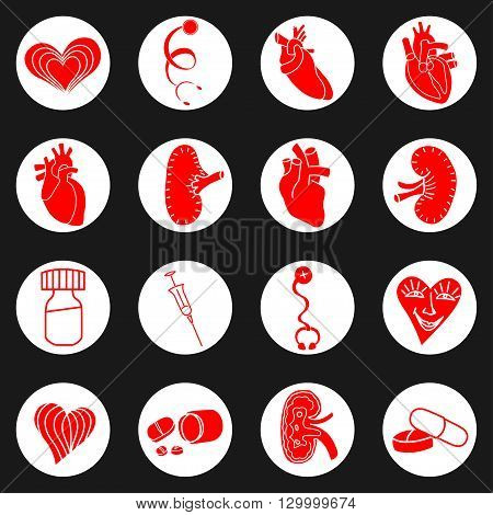 Medicine red and white icon. Vector illustration image
