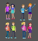 Vector detailed character flat design children students boy and girl. Kids  smiling holding Gadgets and backpacks. Primary or elementary school poster
