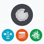Wood sign icon. Tree growth rings. Tree trunk cross-section with nick. Mobile payments, calendar and wifi icons. Bus shuttle. poster