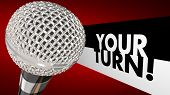Your Turn Speak Up Talk Share Opinion Ideas Microphone 3d Illustration poster