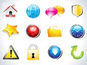 abstract glossy web icons set vector illustration poster