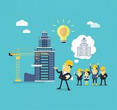 Implementation ideas architect. Successful architect in helmet and with blueprints in hand implements his idea of building a new building. Staff pleased with successes of colleges. Vector illustration poster
