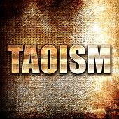 taoism, rust writing on a grunge background poster