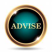 Advise icon. Internet button on white background. poster