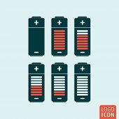 Battery icon. Battery charge status symbol. Vector illustration poster