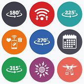 Wifi, mobile payments and drones icons. Angle 180-315 degrees icons. Geometry math signs symbols. Full complete rotation arrow. Calendar symbol. poster