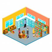 Isometric interior of grocery store. Shopping mall flat 3d isometric concept web vector illustration. poster