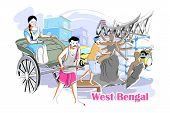 easy to edit vector illustration of people and culture of West Bengal, India poster
