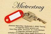 apartment keys and rental poster
