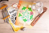 Conceptual image of Feng Shui with five elements  poster