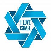 Israel or Judaism logo with Magen David sign. David star, magen david star, judaic david star, sign hexagram, religious david star illustration poster
