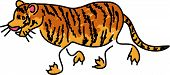 tiger isolated on white drawn in toddler art style poster