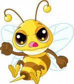 Illustration of angry Cute Bee in fly poster