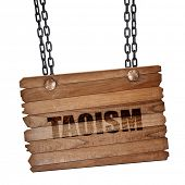 taoism, 3D rendering, wooden board on a grunge chain poster