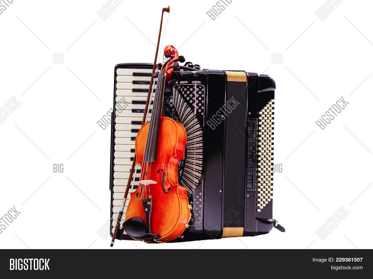 Violin Stuck To The Accordion With Art Concept Of Musical Instruments