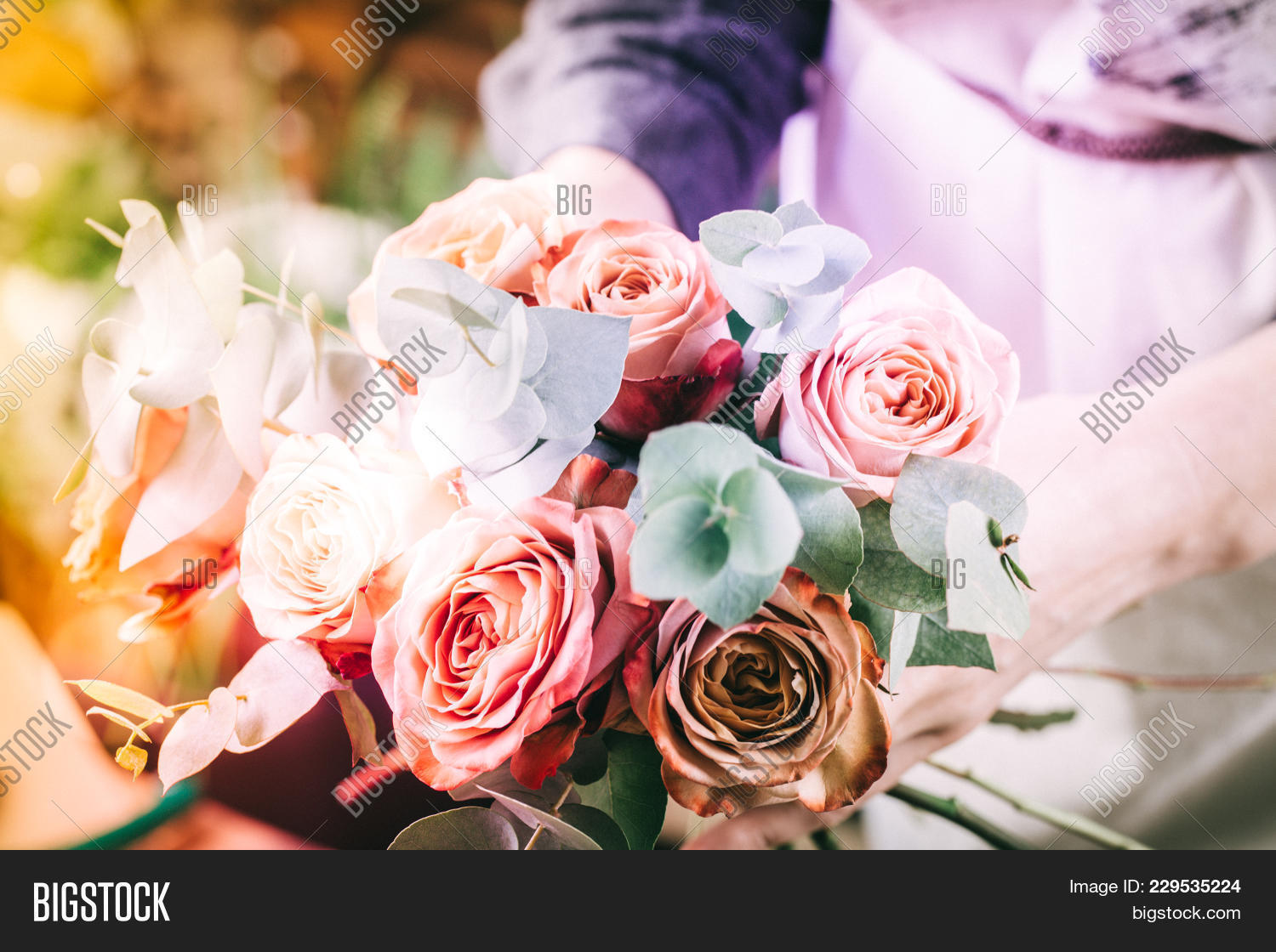 Florist woman making image photo free trial bigstock florist woman making flower bouquet on her workplace izmirmasajfo