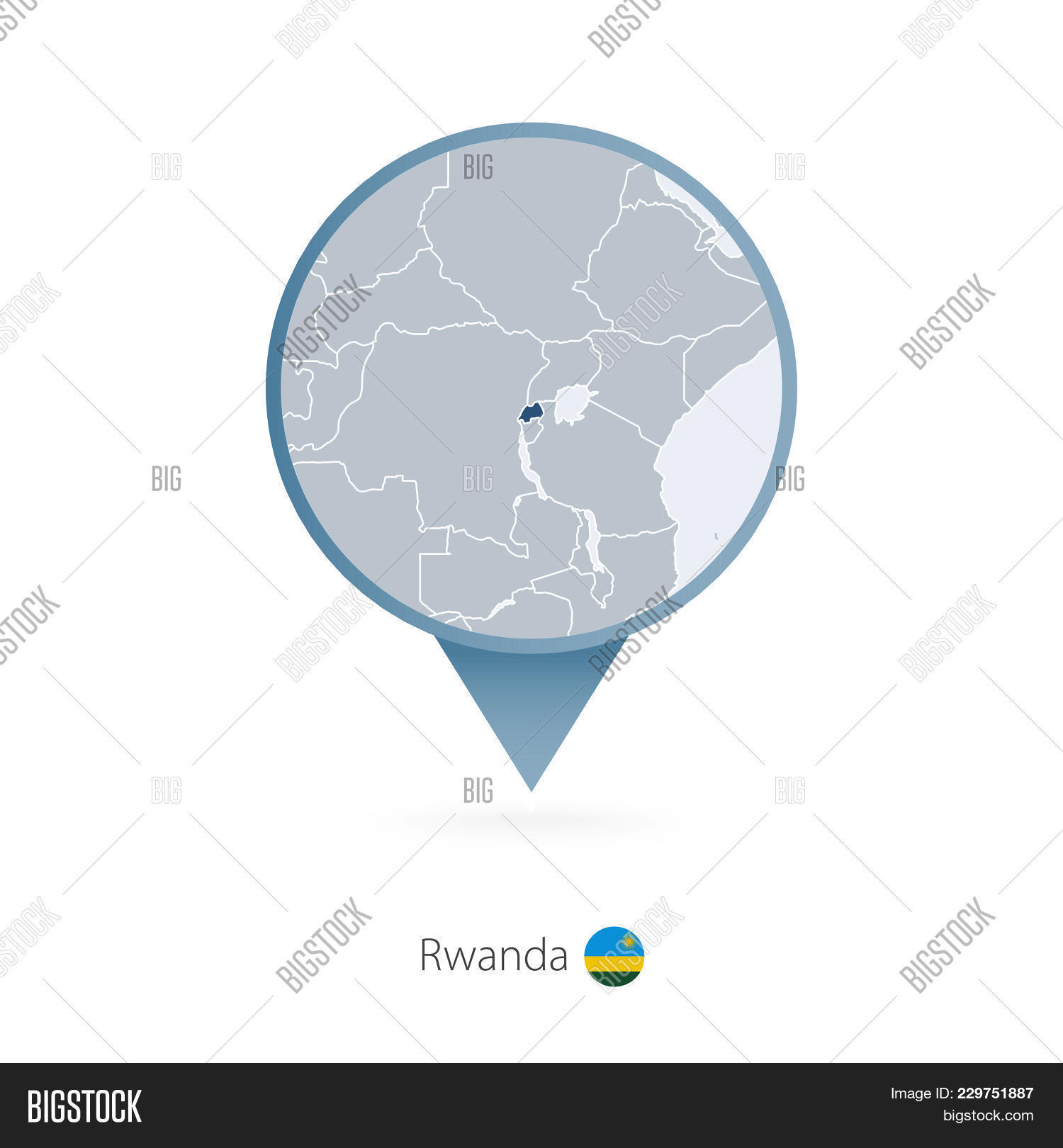 map pin with detailed map of rwanda and neighboring countries