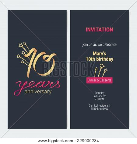 10 Years Anniversary Invitation To Celebrate Vector Illustration. Design Template Element With Golde