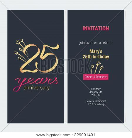 25 Years Anniversary Invitation To Celebrate Vector Illustration. Design Template Element With Golde