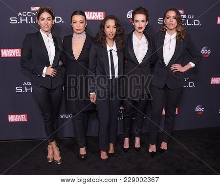 LOS ANGELES - FEB 24:  Natalia Cordova-Buckley, Ming-Na Wen, Maurissa Tancharoen Whedon, Elizabeth Henstridge and Chloe Bennet arrives Marvel's Agents of S.H.I.E.L.D.100th Episode Celebration