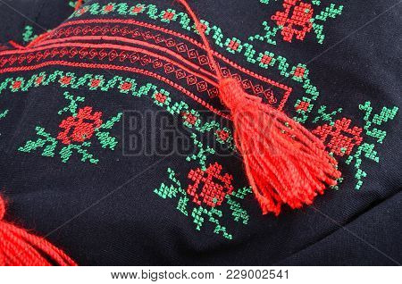 Background With Traditional Ukrainian Cross Stitch Embroidery