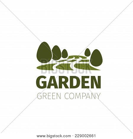 Green Garden Icon For Landscaping Design Company Or Nature And Environment Eco Gardening Association