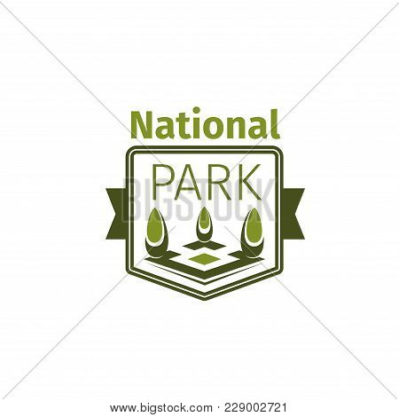 National Park Icon Template For Ecology Nature Square Or City Green Park. Vector Isolated Symbol Of