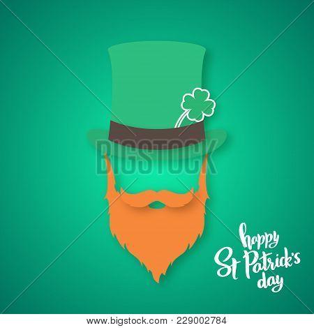 Origami Of Irishman. Saint Patricks Day Card. Vector Illustration.