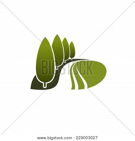 Green Trees Or Nature Park And Forest Icon For Landscaping Design Company Or Earth Ecology Protectio