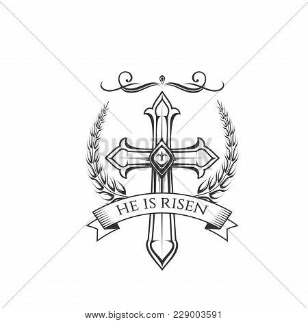Easter Day Resurrection Sunday Celebration Icon Of He Is Risen Cross Crucifix In Ornate Ribbon. Vect
