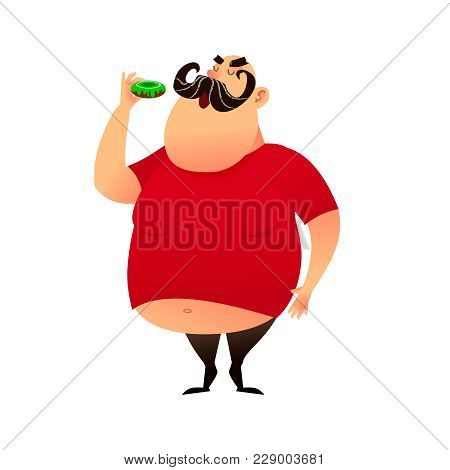 Fat Guy Takes A Bite Of A Donut. Funny Cartoon Obesity Man In A T-shirt With A Naked Belly. Puffy Mu