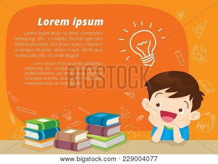 Children Boy Thinking Idea And Books.cute Kid Imagine In Classroom With Space For Your Text.educatio