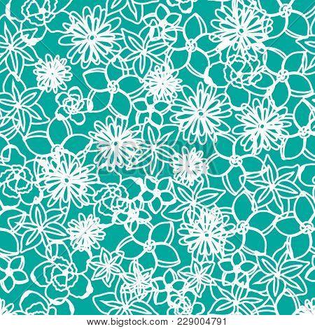 Floral Blue Pattern Background Spring Vector Illustration
