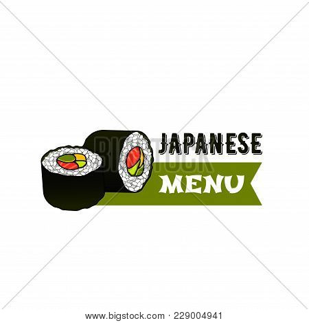 Japanese Sushi Bar Or Asian Seafood Restaurant Menu Icon. Vector Isolated Symbol Of Japan Cuisine Su