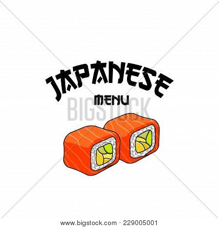 Japanese Menu Icon For Sushi Bar Or Asian Cuisine Seafood Restaurant. Vector Isolated Philadelphia S