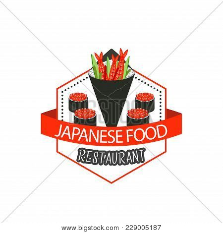 Japanese Food Restaurant Or Asian Sushi Cuisine Icon Of Sushi Rolls With Fish Caviar. Vector Isolate