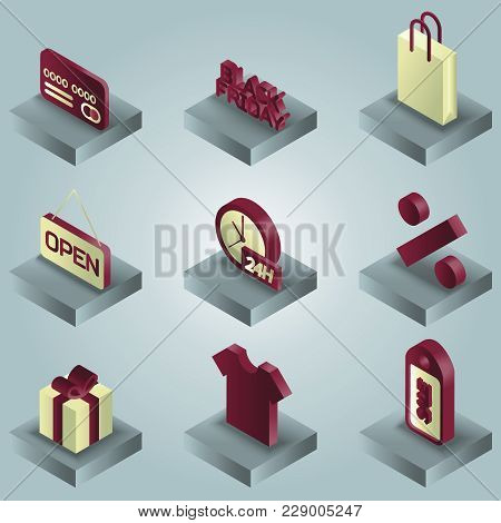Black Friday Color Gradient Isometric Icons. Vector Illustration, Eps 10