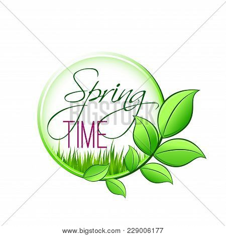 Spring Time Green Leaf Icon For Springtime Wishes Or Seasonal Holiday Greetings. Vector Isolated Gre