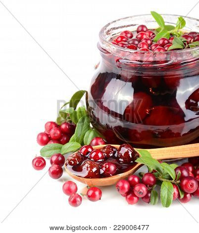 Cowberry Sweet Jam, Small Spoon And Fresh Berrys On White Background