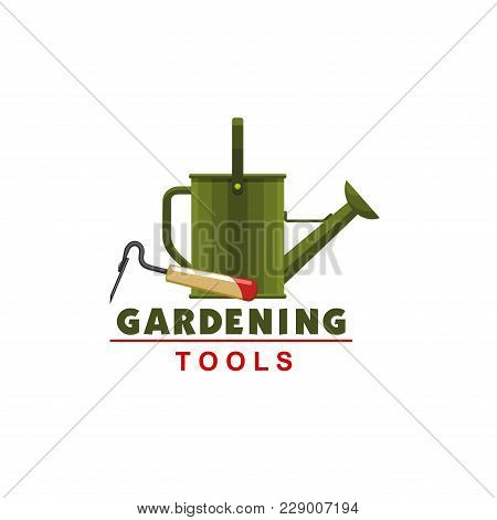 Gardening Tools Icon Of Watering Can And Hoe For Farmer Shop Or Garden Farming Store. Vector Isolate