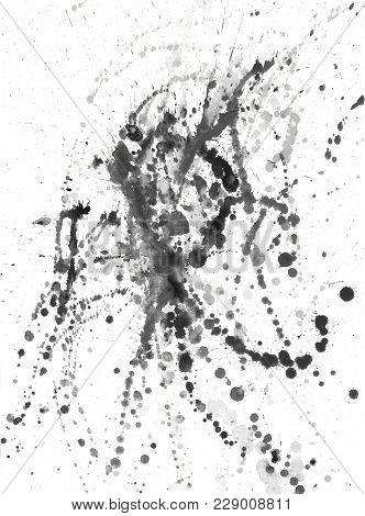 Splatters, Splinter, Blotches, Blots And Blobs Of Paint On White Paper
