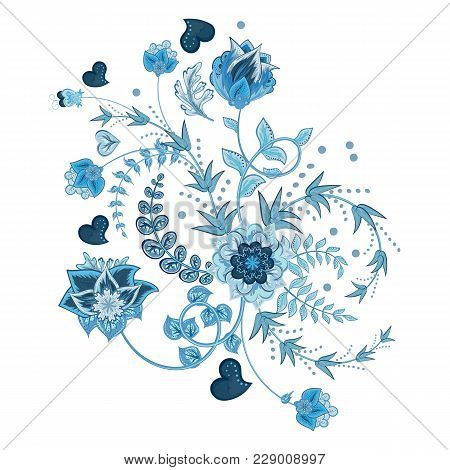 Stock Vector Abstract Hand Draw Flower. Doodle Bouquet. Vector Oriental Or Arabic, Russia Art Backgr