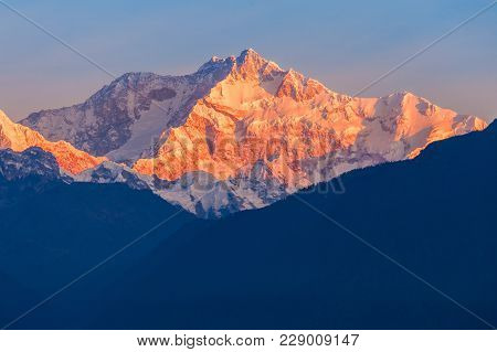 Kangchenjunga Close Up View From Pelling In Sikkim, India. Kangchenjunga Is The Third Highest Mounta