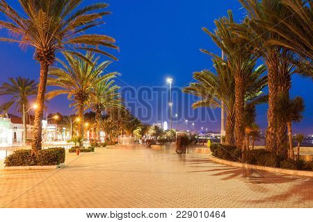 Agadir Seafront Promenade At The Night, Morocco. Agadir Is A Major City In Morocco Located On The Sh