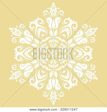 Elegant Vector Round White Ornament In Classic Style. Abstract Traditional Pattern With Oriental Ele
