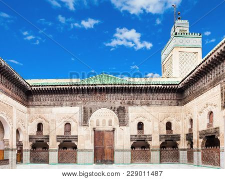 The Medersa Bou Inania Is A Madrasa In Fes, Morocco. Medersa Bou Inania Is Acknowledged As An Excell