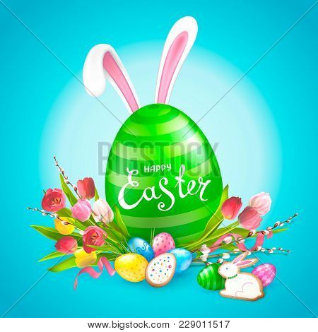 Easter Composition With Realistic Glossy Eggs, Bunny Ears, Bouquet Of Flowers Tulips, Willow Twigs A